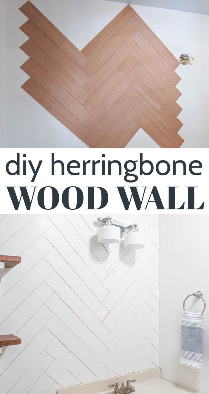 close up of herringbone wood wall half-finished above a close-up of the painted herringbone wall