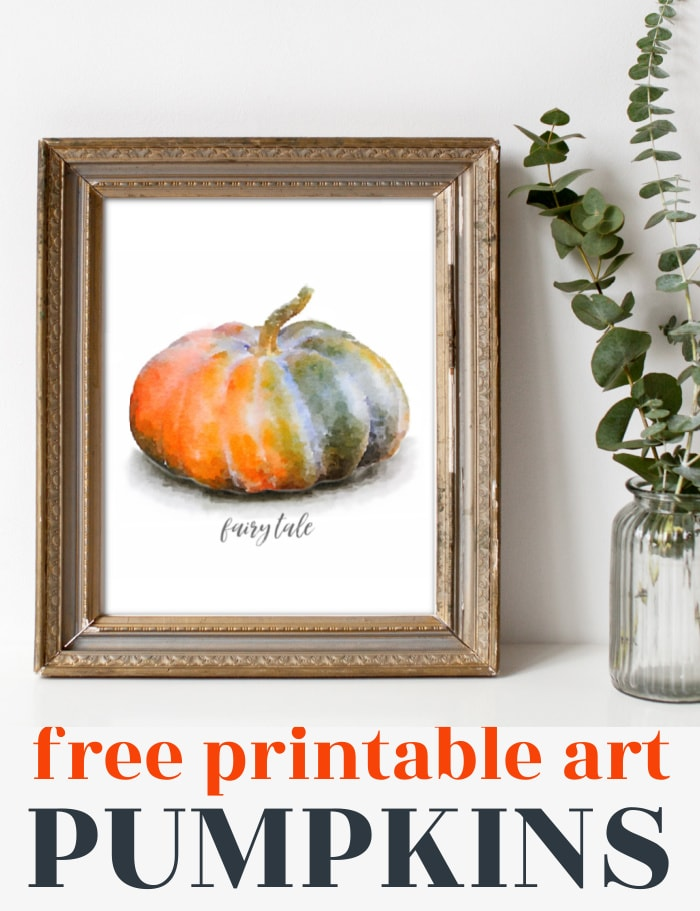 watercolor orange and green fairy tale pumpkin art print in a gold frame