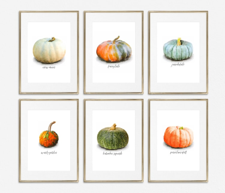 gallery wall of six different watercolor pumpkin prints including orange, green, white, and blue pumpkins