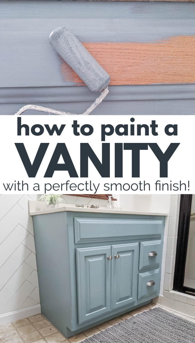 Collage of foam paint roller painting bathroom cabinet and the painted cabinet in light blue