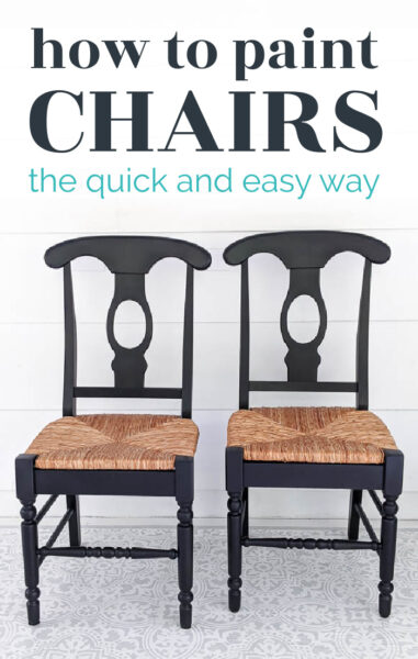 wooden chairs with a woven seat painted black with text: how to paint chairs the quick and easy way.