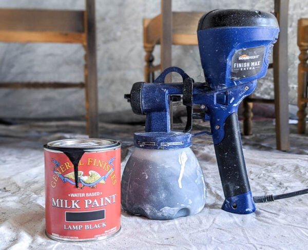 General Finishes milk paint in lamp black and homeright super finish max sprayer