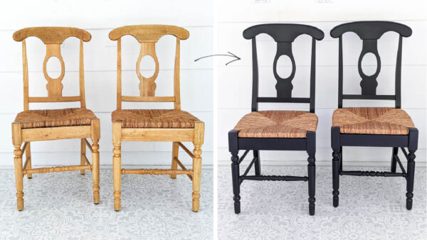 wooden chairs before and after black paint.