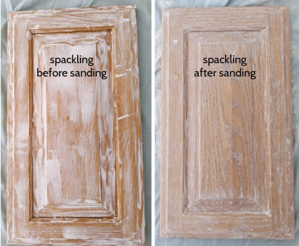 cabinet door with spackling and cabinet door with spackling after sanding