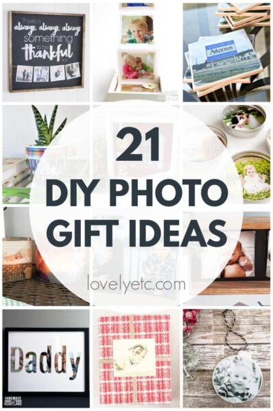 collage of different diy photo gift ideas