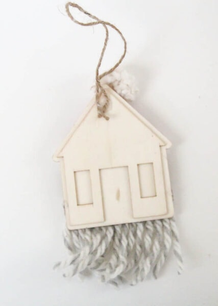 back of diy santa ornament showing twine hot-glued to make a hanger.