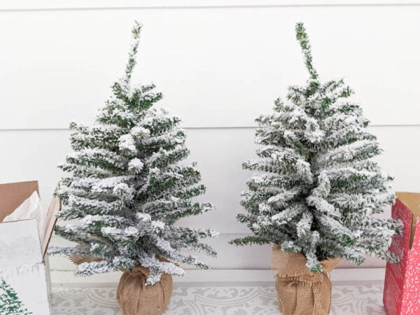 Two mini flocked Christmas trees flocked with two different flocking powders.