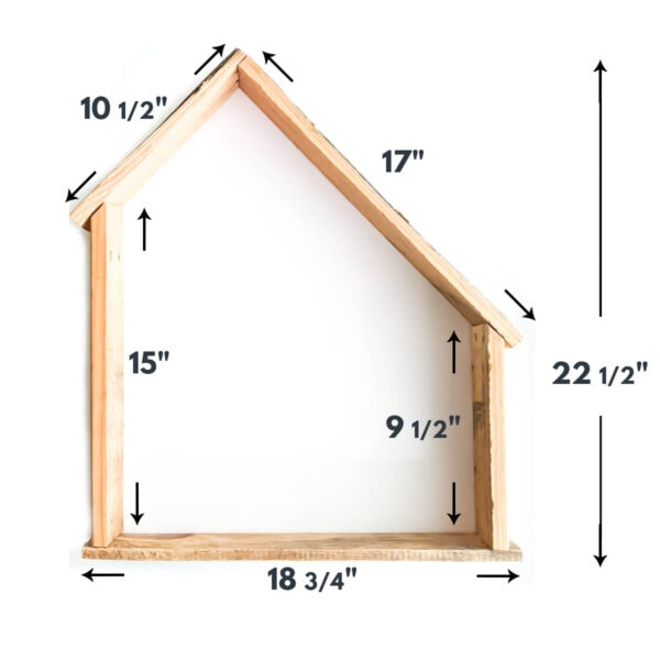 Outline of DIY nativity stable with measurements.