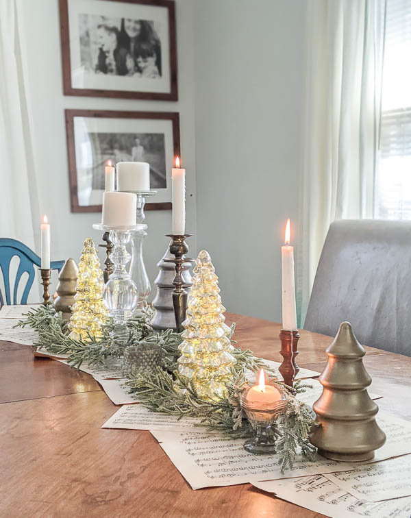 Thrifted Christmas centerpiece on dining table.