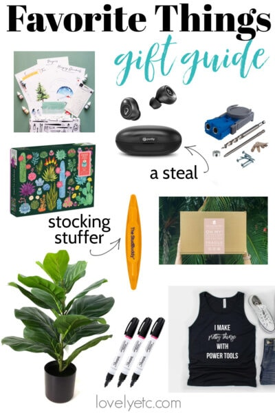 collage of favorite things from gift guide including watercolor subscription box, wireless earphones, kreg jig, stud buddy, and faux fiddle leaf fig.