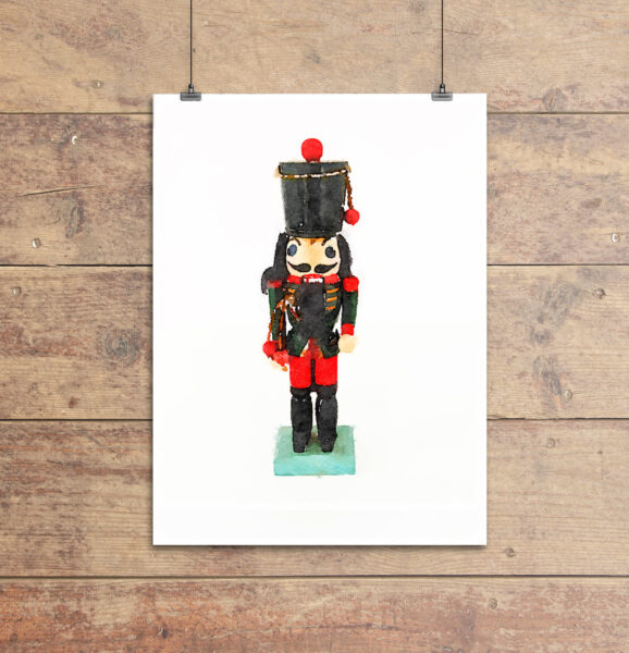 Printable art print of nutcracker wearing green uniform