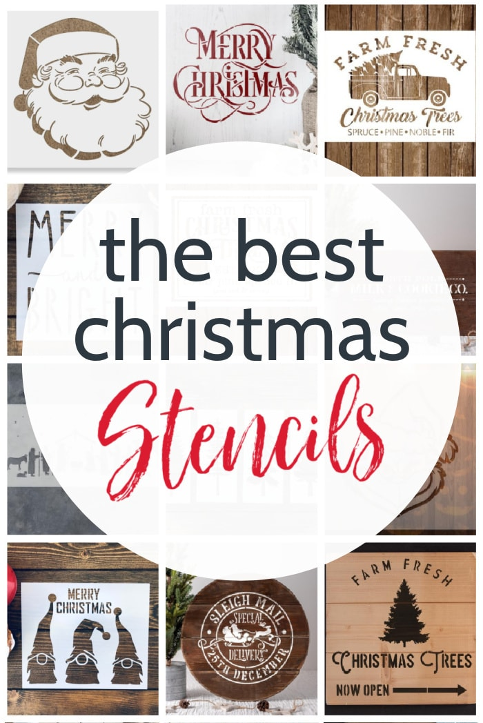 collage of Christmas stencils  with text: the best christmas stencils.