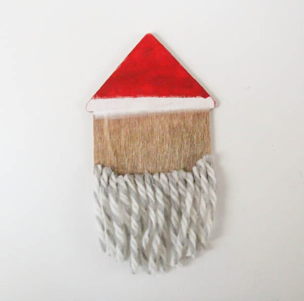 diy santa ornament with yard beard trimmed