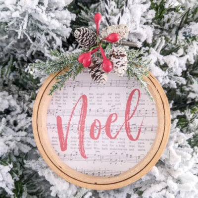 DIY Embroidery Hoop Ornaments with Free Printables