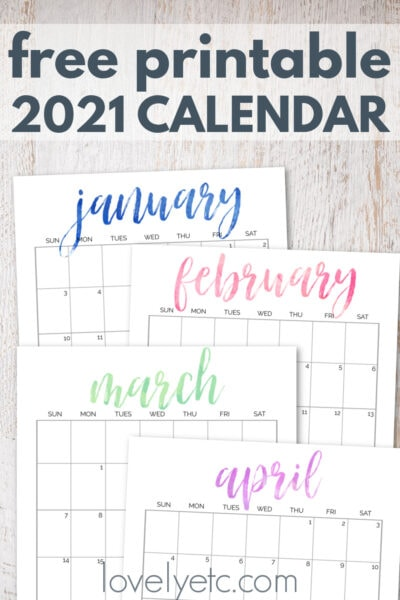 Simple and Pretty Free Printable 2021 Calendar - Lovely Etc.