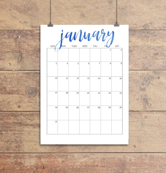 january 2021 calendar printable with blue script January title.