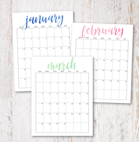printable January, February, and March 2021 calendars.
