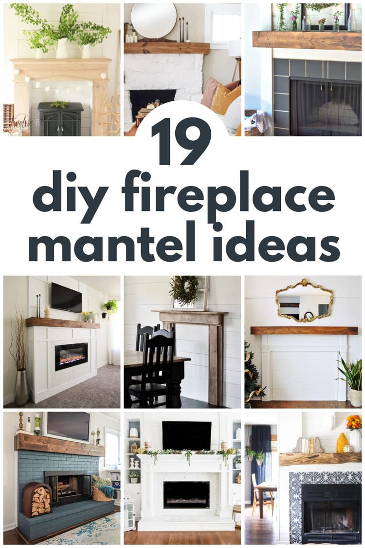 collage of DIY fireplace mantel ideas