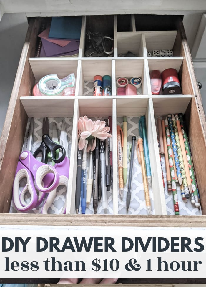 junk drawer organized with diy drawer dividers.