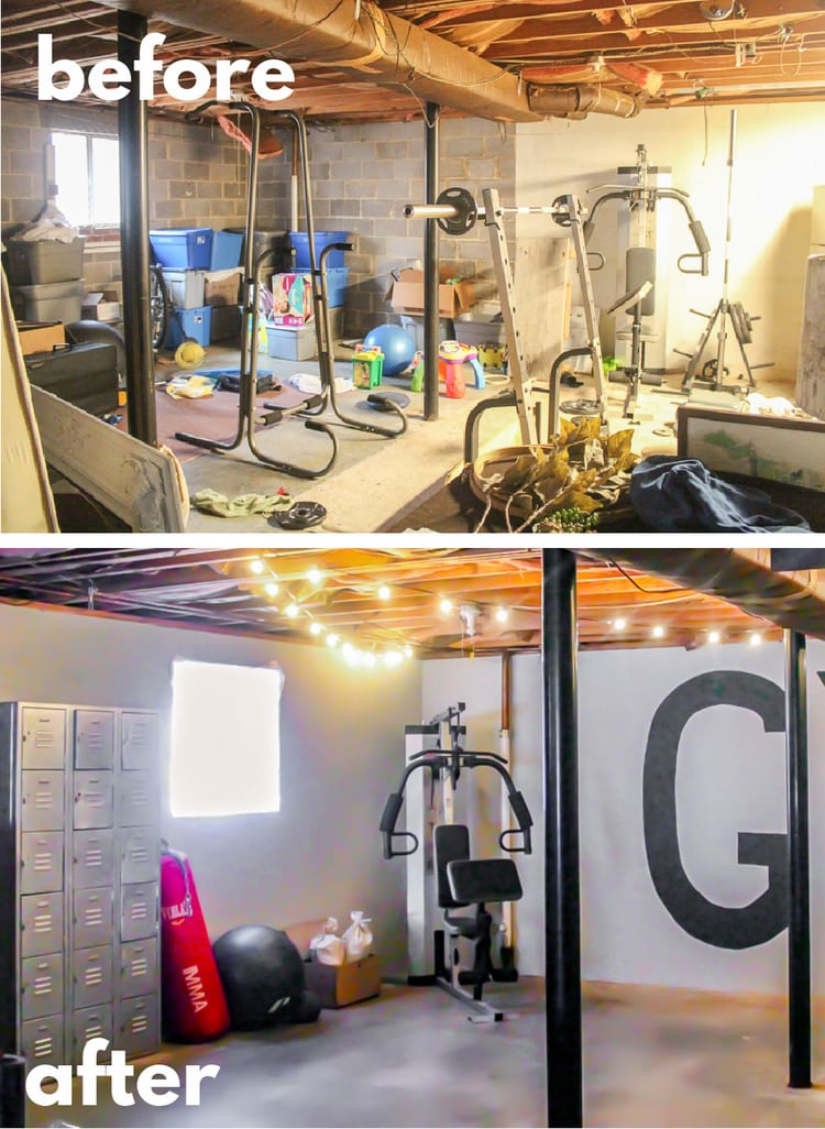 before and after collage of other side of gym in unfinished basement.