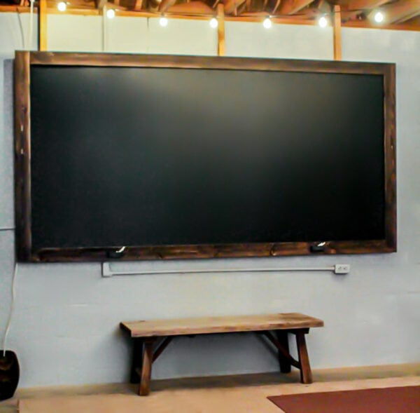 oversized  DIY chalkboard with rustic frame.