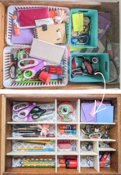 Before and after of junk drawer.