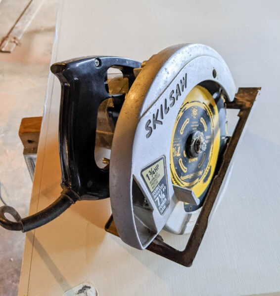 cutting the doors down to size using a circular saw.