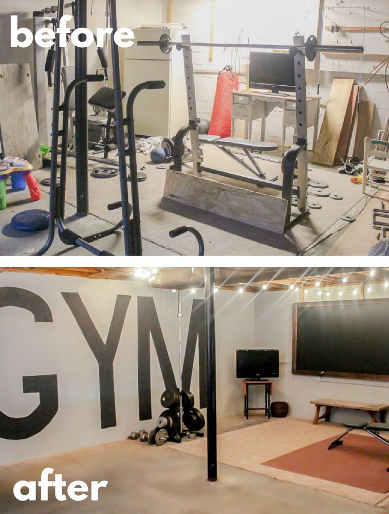 before and after collage of unfinished basement gym