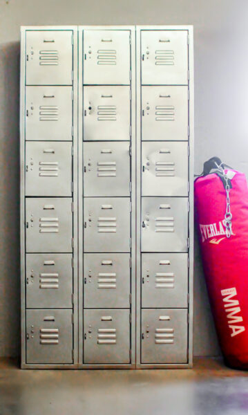 vintage lockers next to punching bag.