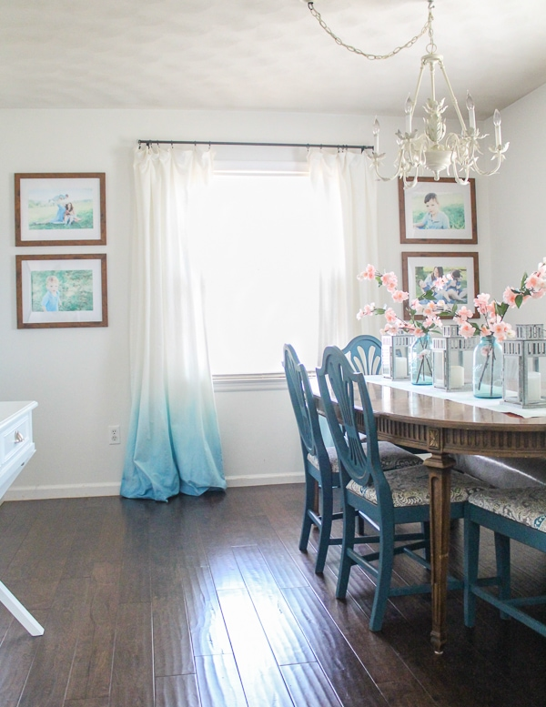 updated dining room with diy ombre curtains.
