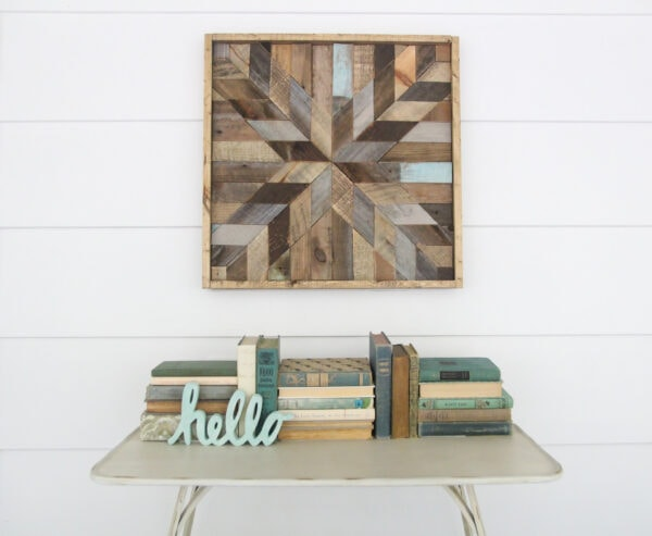 Wooden barn quilt made from scraps of reclaimed wood.
