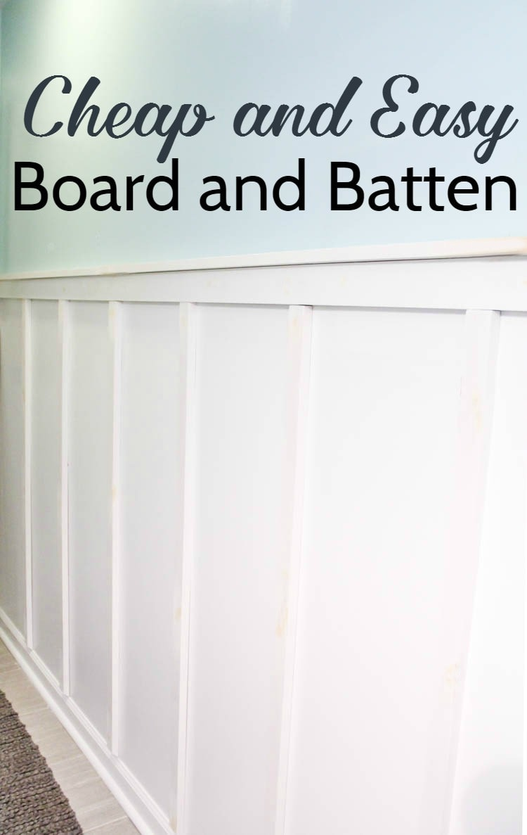 blue and white board and batten wall with text: cheap and easy board and batten.