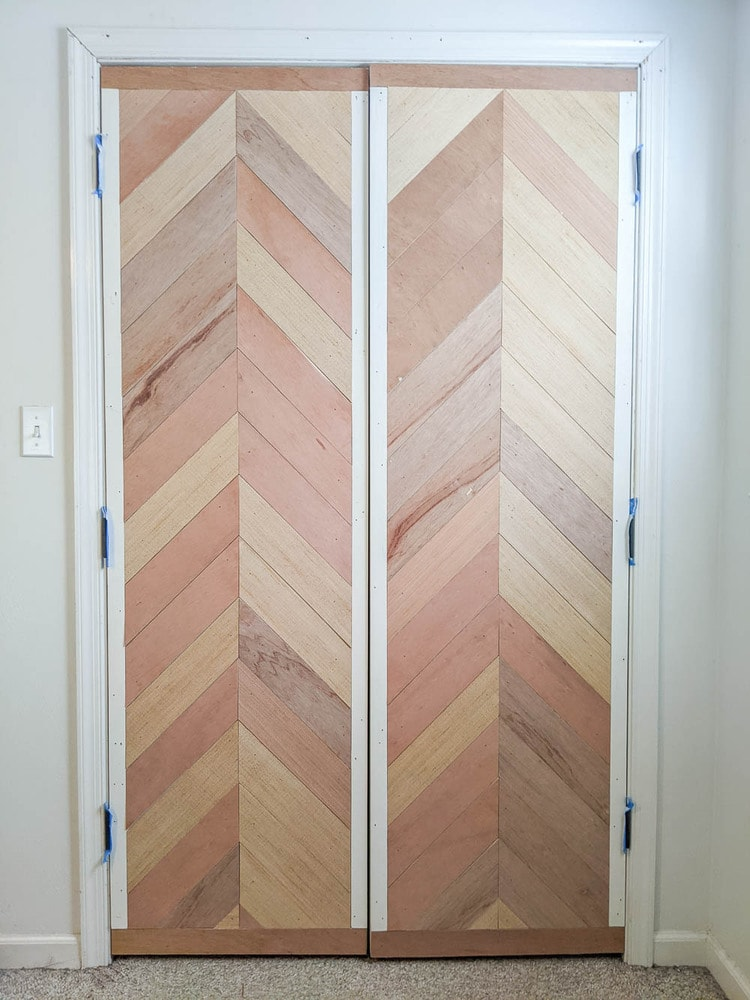 completed chevron wood plank doors before painting.