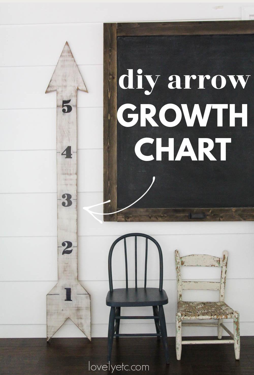 diy arrow growth chart next to large chalkboard.