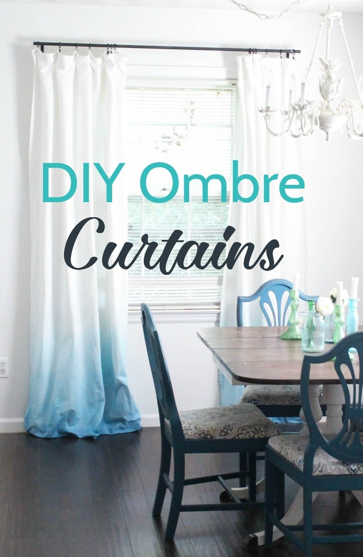 diy blue ombre curtains hanging in dining room.