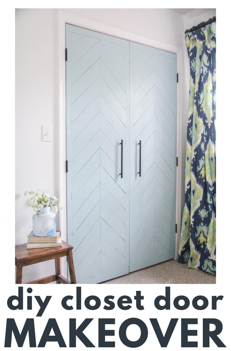 diy closet door makeover with blue chevron plank doors.