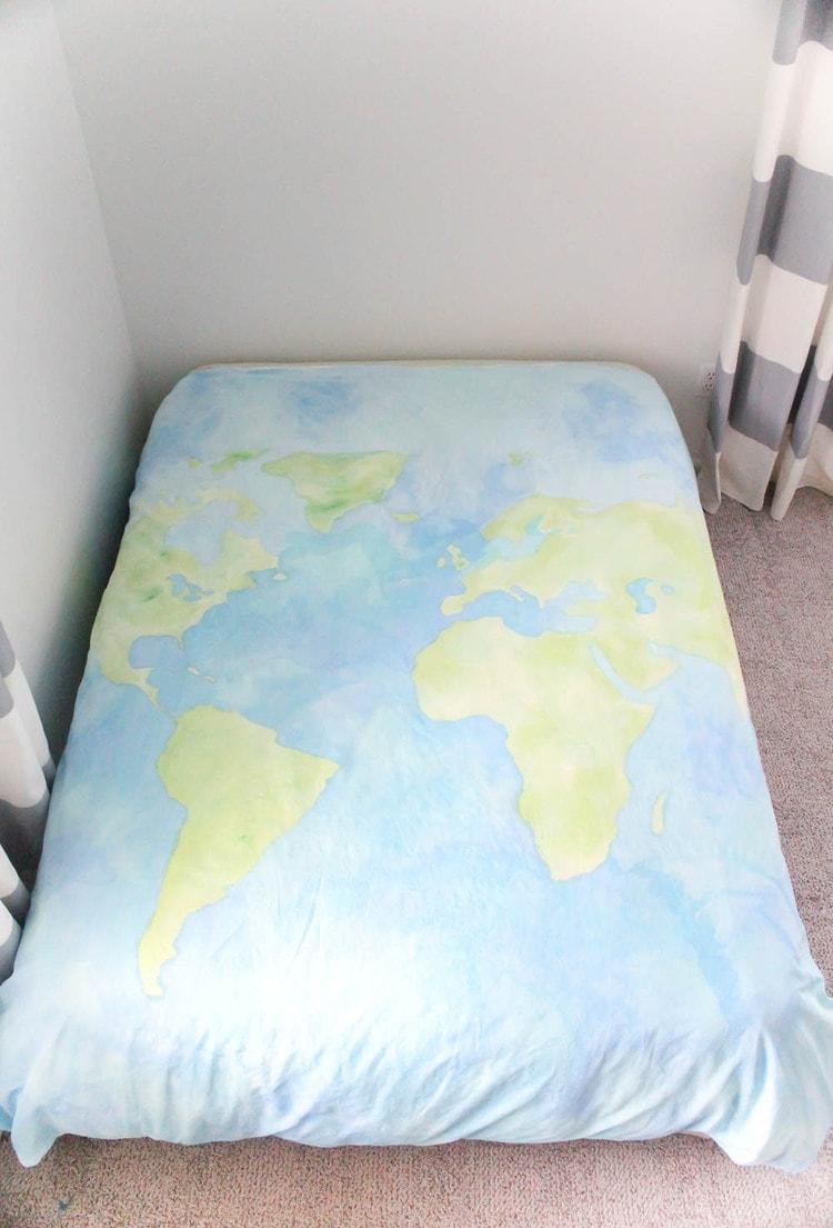 diy painted world map duvet cover.