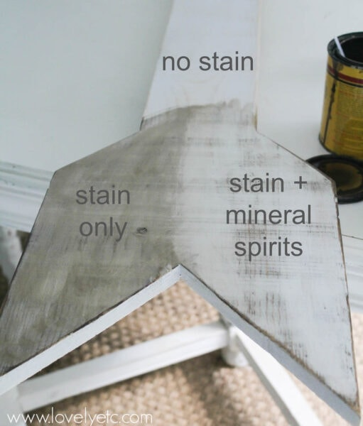 using stain and paint to create a weathered white paint finish.
