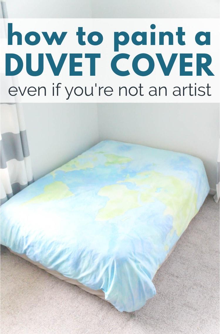 diy watercolor world map duvet cover.