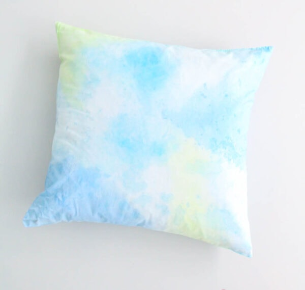 diy painted watercolor pillow