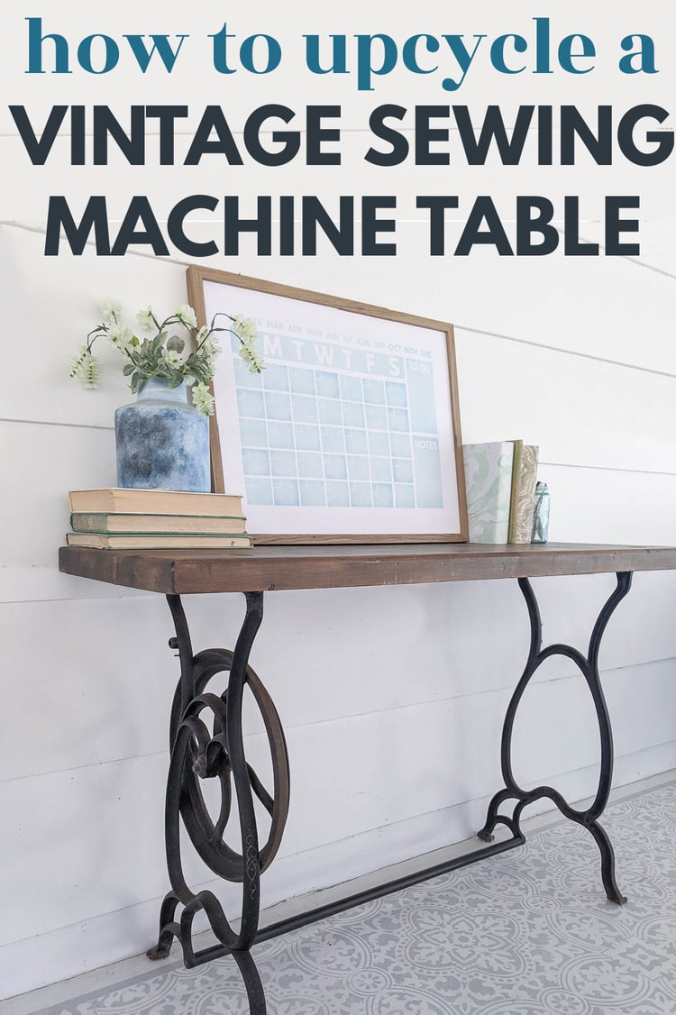 table made from a repurposed vintage sewing machine table.