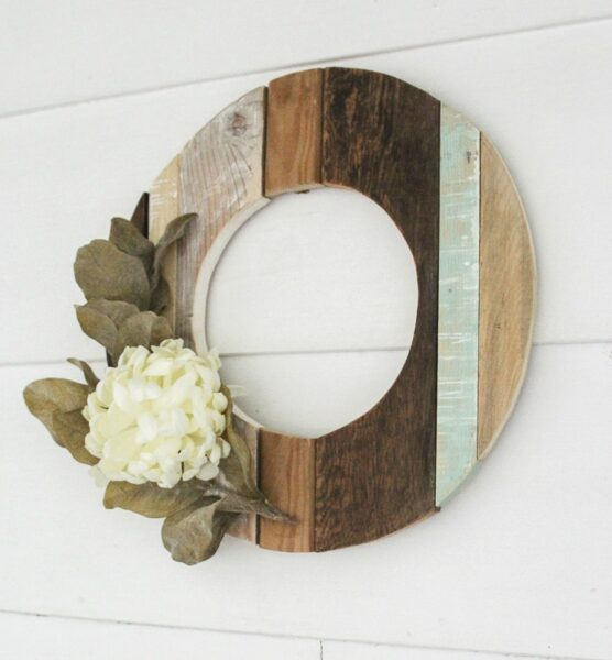 Wooden wreath made from scrap wood.
