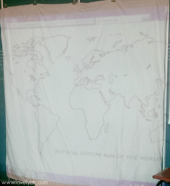 projecting a world map onto a duvet cover for painting.
