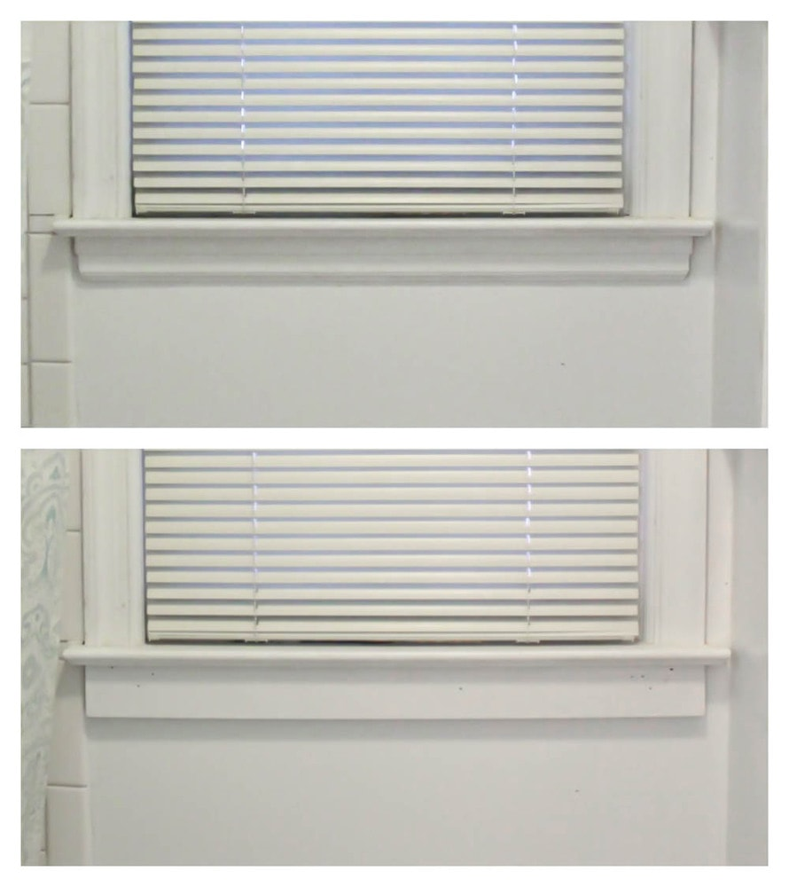 window before and after replacing bottom window casing to prepare for board and batten walls.