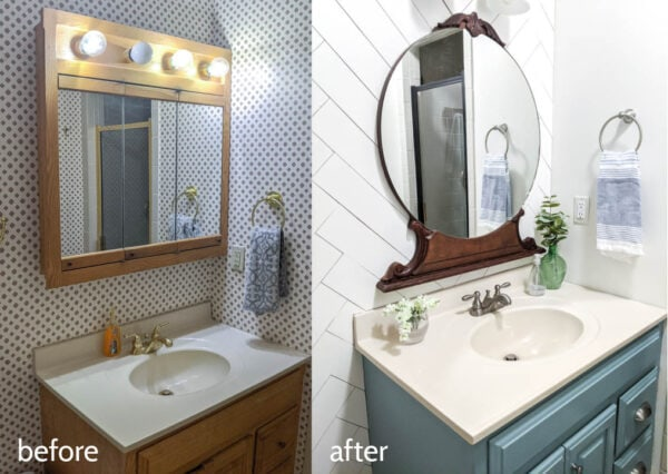 bathroom before with dated wallpaper, huge medicine cabinet, and vanity lights and bathroom after with antique mirror, wood plank wall, and painted vanity.