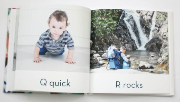 abc photo book with q for quick and r for rocks.