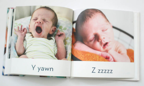 abc photo book spread with y for yawn and zzzzz.