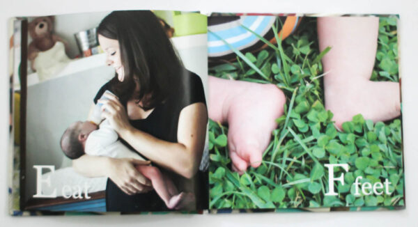 two pages of abc photo book - e for eat and f for feet.