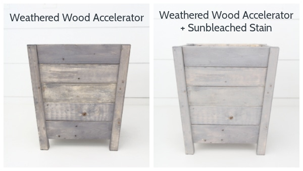 diy wooden planter box finished with weathered wood accelerator and sunbleached stain.