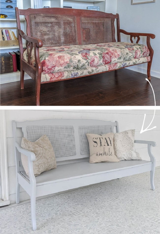 before and after of thrifted upholstered settee transformed into an outdoor bench.